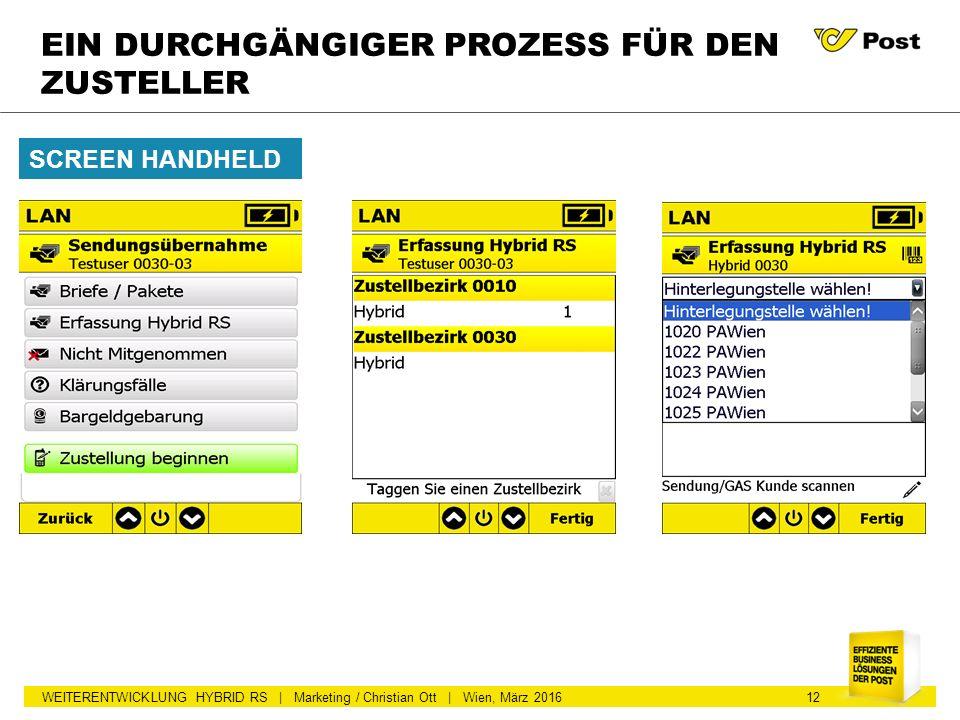 WEITERENTWICKLUNG HYBRID RS | Marketing / Christian Ott | Wien, März 2016 EIN DURCHGÄNGIGER PROZESS FÜR DEN ZUSTELLER SCREEN HANDHELD 12