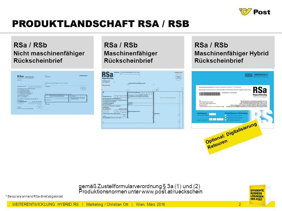 WEITERENTWICKLUNG HYBRID RS | Marketing / Christian Ott | Wien, März 2016 2 PRODUKTLANDSCHAFT RSA / RSB RSa / RSb Nicht maschinenfähiger Rückscheinbri