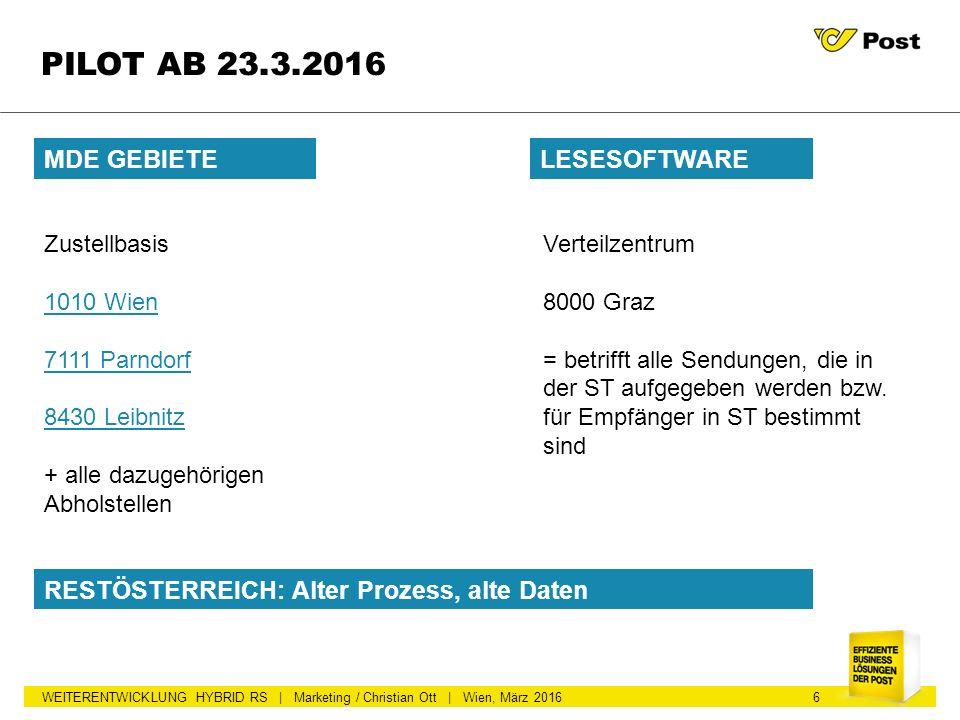 WEITERENTWICKLUNG HYBRID RS | Marketing / Christian Ott | Wien, März 2016 PILOT AB 23.3.2016 MDE GEBIETE 6 Zustellbasis 1010 Wien 7111 Parndorf 8430 L
