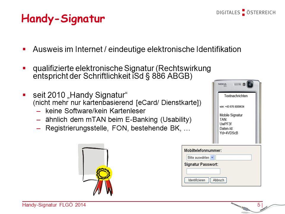 Handy-Signatur FLGÖ 2014 Bürger PortalBusiness PortalGesundheits Portal Die BürgerInnen haben den Nutzen.