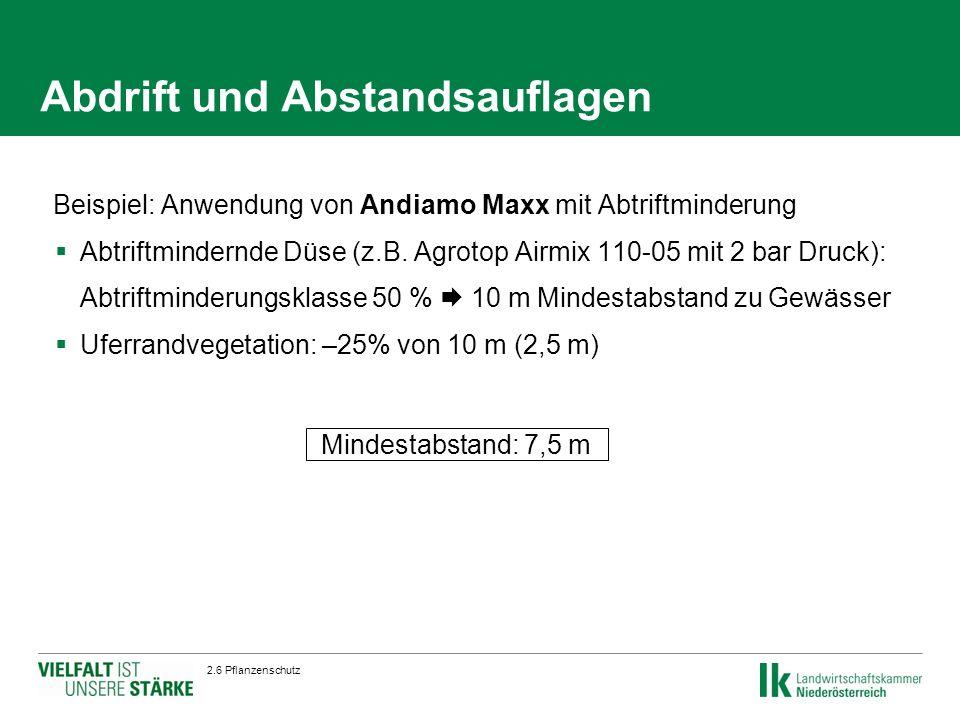 2.6 Pflanzenschutz Beispiel: Anwendung von Andiamo Maxx mit Abtriftminderung  Abtriftmindernde Düse (z.B.