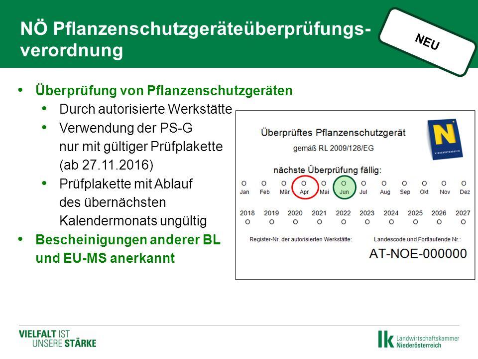 NÖ Pflanzenschutzgeräteüberprüfungs- verordnung Überprüfung von Pflanzenschutzgeräten Durch autorisierte Werkstätte Verwendung der PS-G nur mit gültiger Prüfplakette (ab 27.11.2016) Prüfplakette mit Ablauf des übernächsten Kalendermonats ungültig Bescheinigungen anderer BL und EU-MS anerkannt NEU