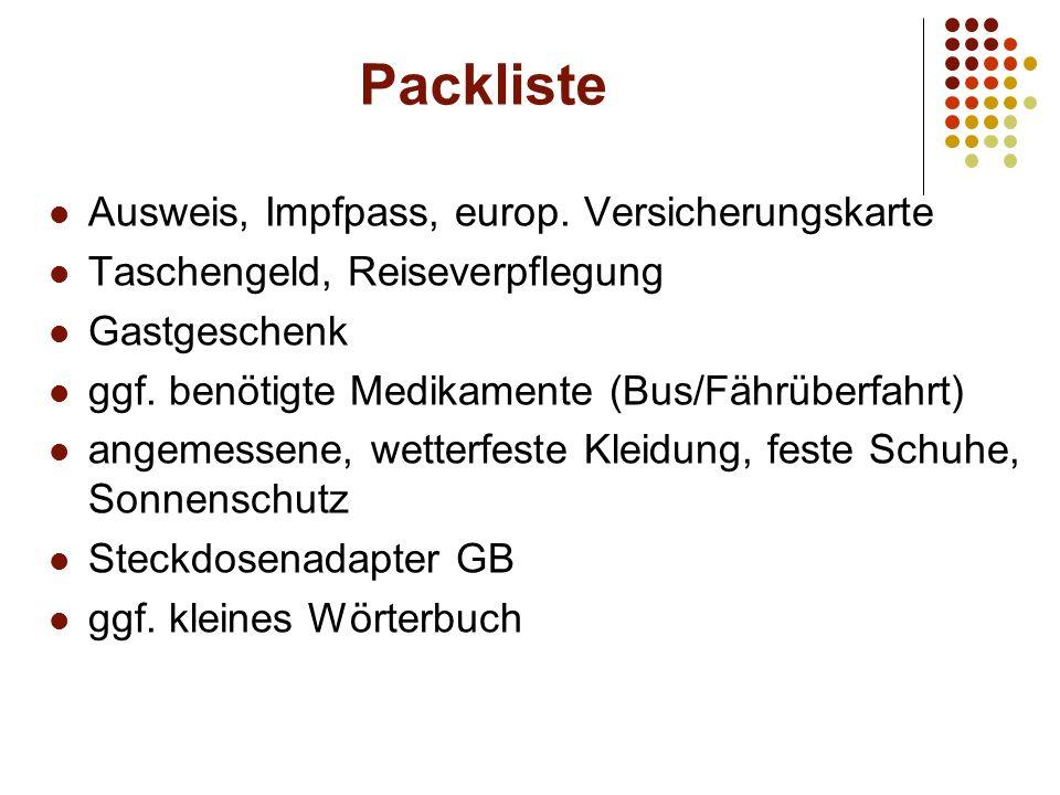 Packliste Ausweis, Impfpass, europ.