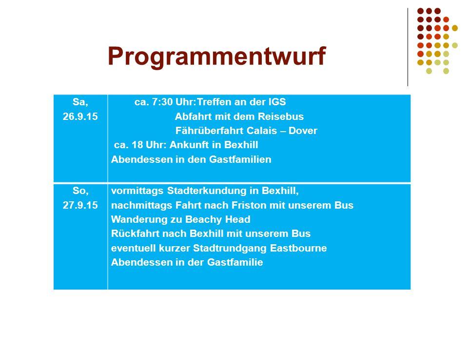 Programmentwurf Sa, 26.9.15 ca.