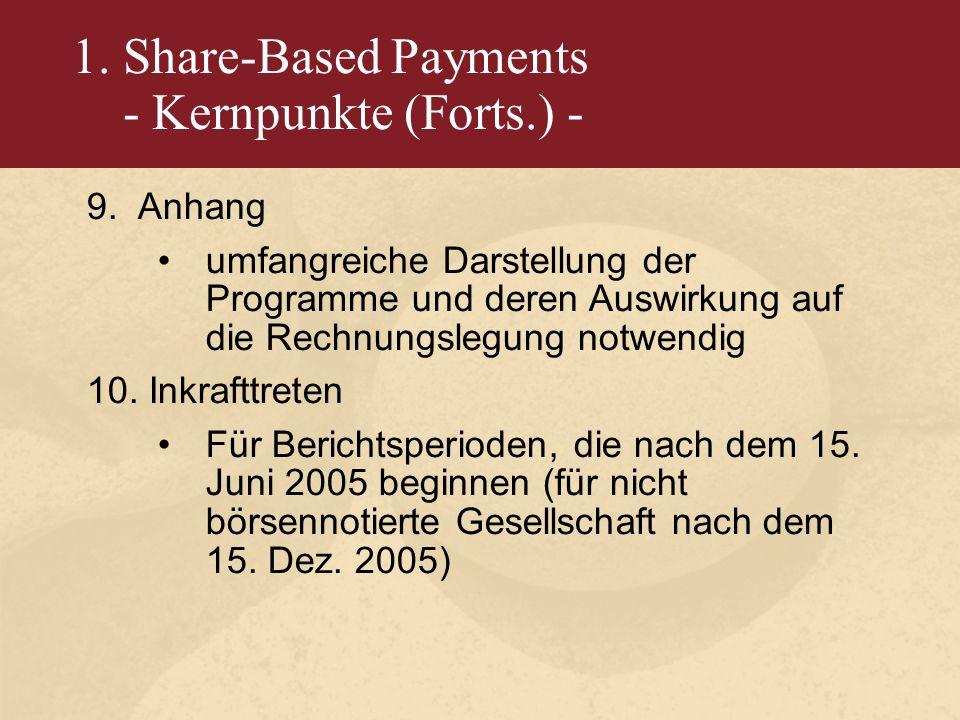 1. Share-Based Payments - Kernpunkte (Forts.) - 9.Anhang umfangreiche Darstellung der Programme und deren Auswirkung auf die Rechnungslegung notwendig