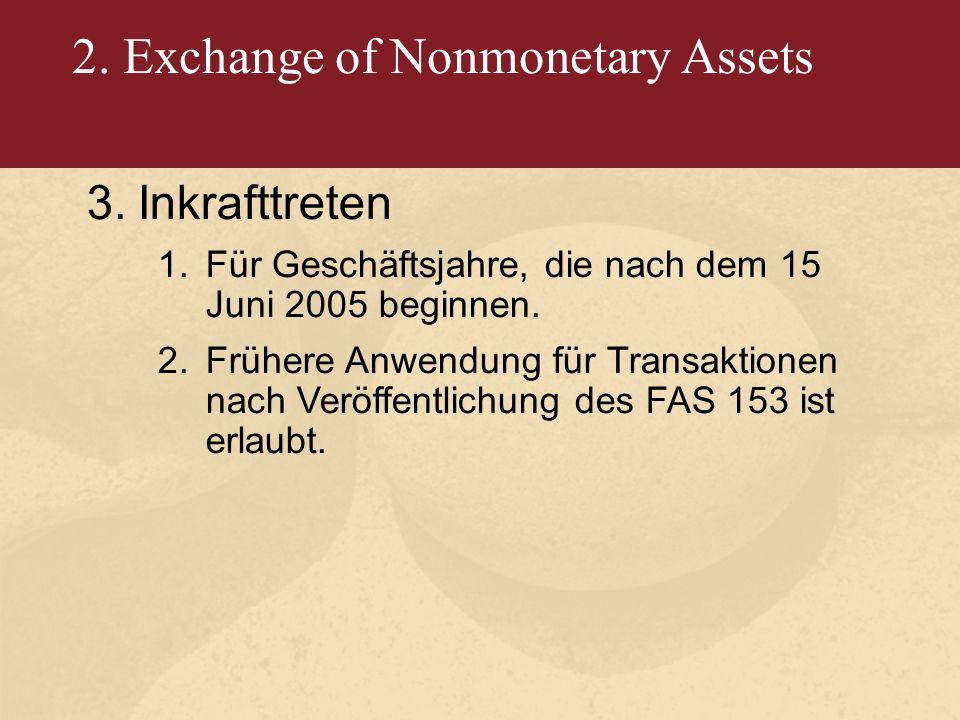 2. Exchange of Nonmonetary Assets 3.Inkrafttreten 1.Für Geschäftsjahre, die nach dem 15 Juni 2005 beginnen. 2.Frühere Anwendung für Transaktionen nach