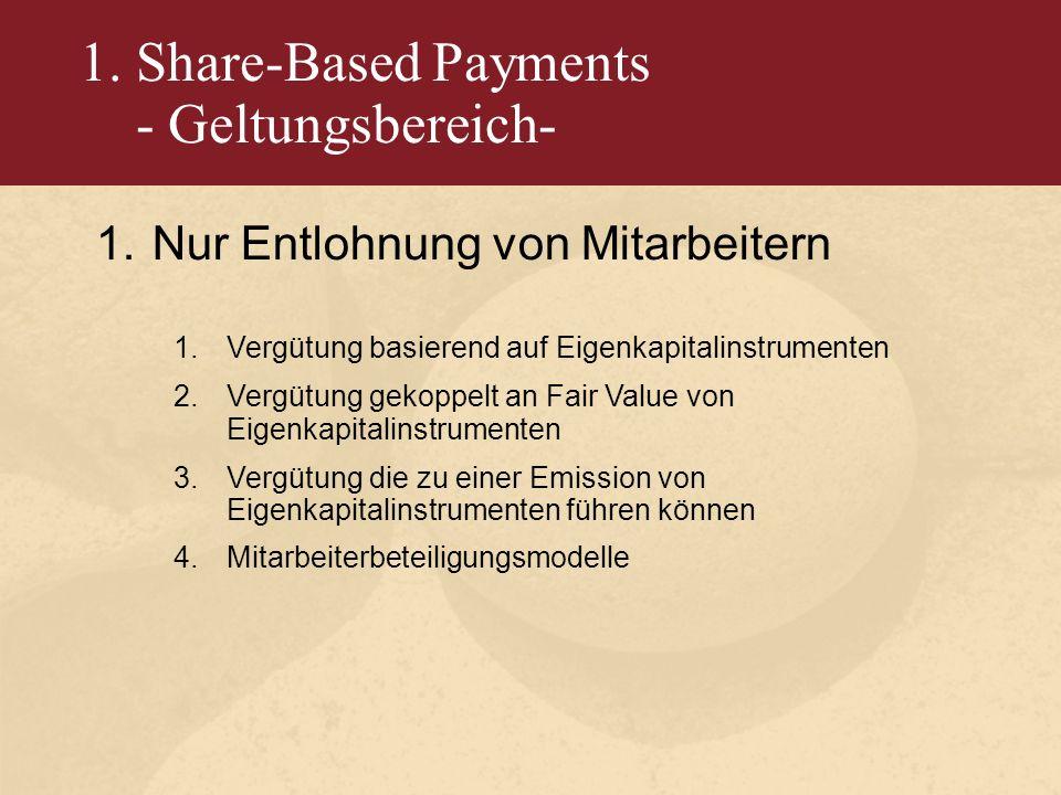 1. Share-Based Payments - Geltungsbereich- 1.Nur Entlohnung von Mitarbeitern 1.Vergütung basierend auf Eigenkapitalinstrumenten 2.Vergütung gekoppelt