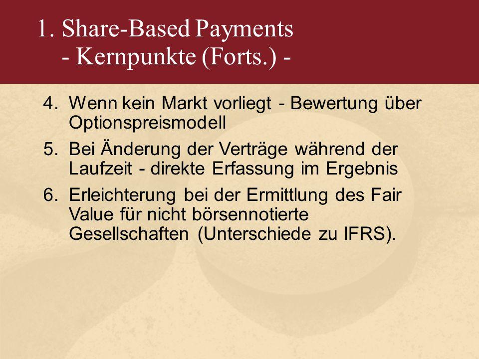 1. Share-Based Payments - Kernpunkte (Forts.) - 4.Wenn kein Markt vorliegt - Bewertung über Optionspreismodell 5.Bei Änderung der Verträge während der