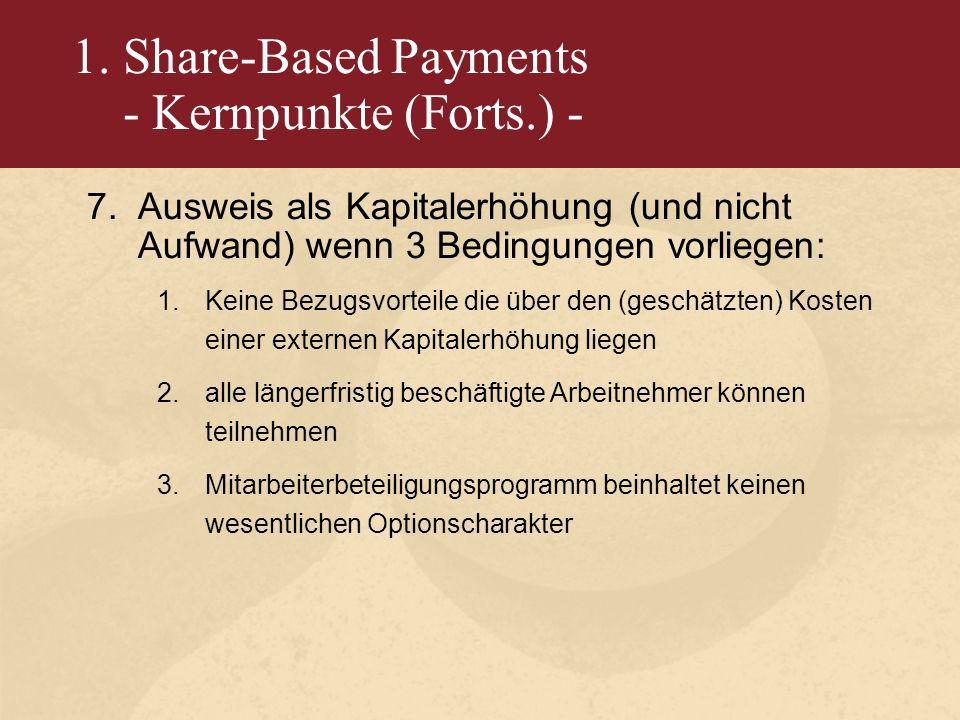 1. Share-Based Payments - Kernpunkte (Forts.) - 7.Ausweis als Kapitalerhöhung (und nicht Aufwand) wenn 3 Bedingungen vorliegen: 1.Keine Bezugsvorteile