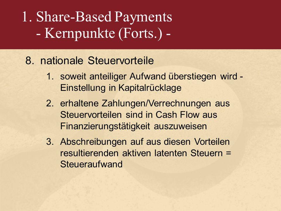 1. Share-Based Payments - Kernpunkte (Forts.) - 8.nationale Steuervorteile 1.soweit anteiliger Aufwand überstiegen wird - Einstellung in Kapitalrückla