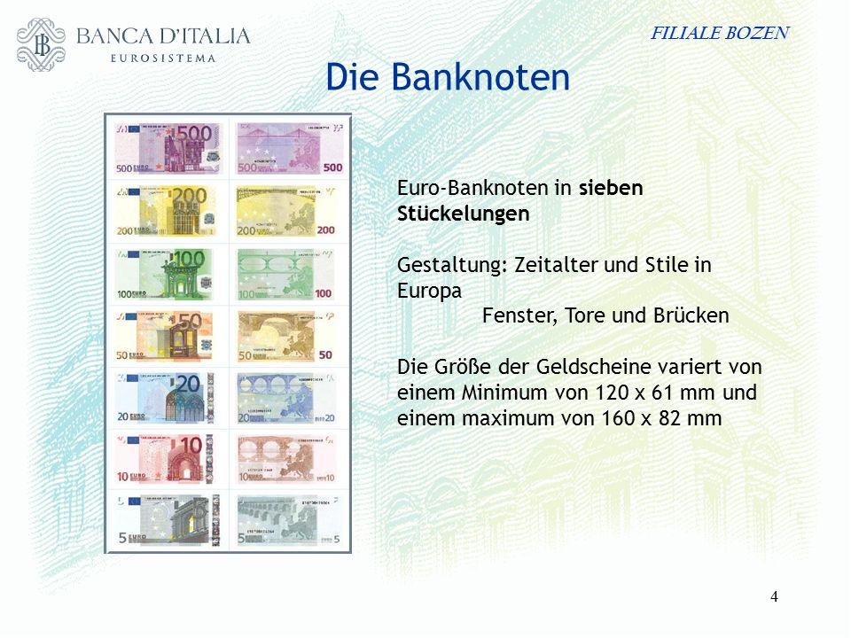 FILIALE BOZEN 4 Die Banknoten Euro-Banknoten in sieben Stückelungen Gestaltung: Zeitalter und Stile in Europa Fenster, Tore und Brücken Die Größe der Geldscheine variert von einem Minimum von 120 x 61 mm und einem maximum von 160 x 82 mm