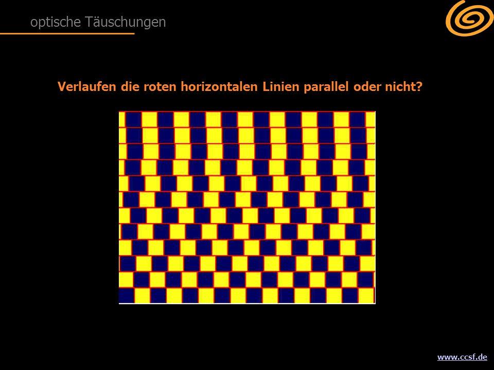 www.ccsf.de Verlaufen die roten horizontalen Linien parallel oder nicht? optische Täuschungen