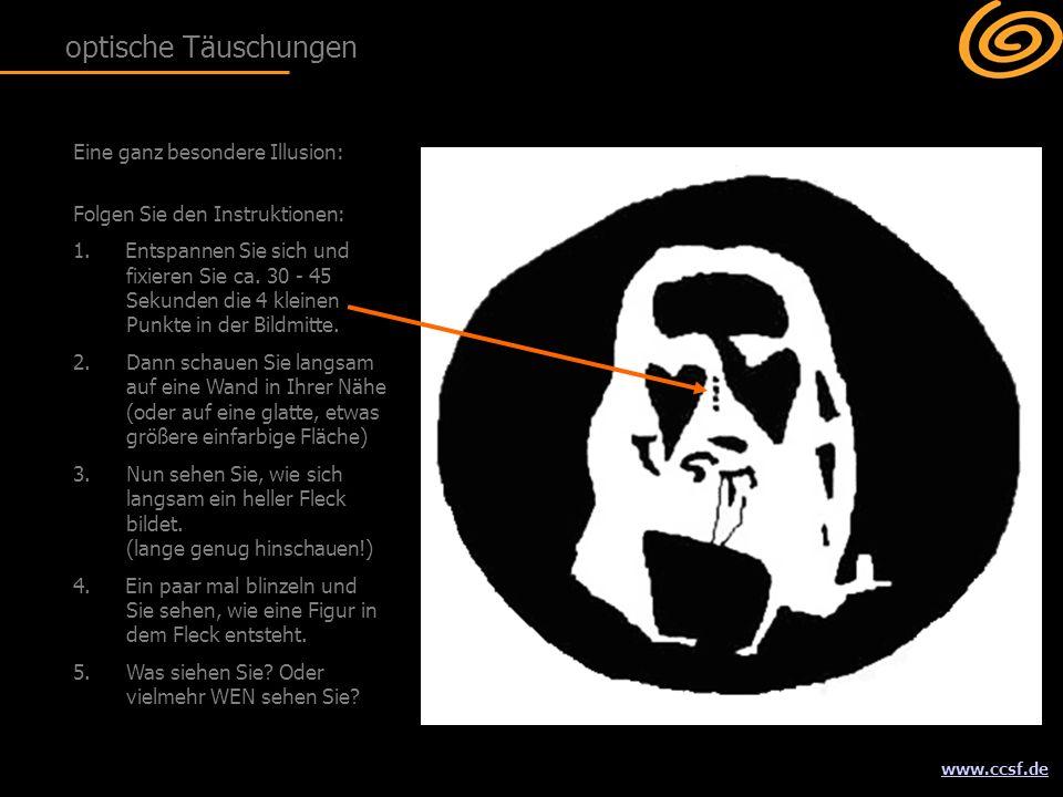 www.ccsf.de Eine ganz besondere Illusion: Folgen Sie den Instruktionen: 1.Entspannen Sie sich und fixieren Sie ca.