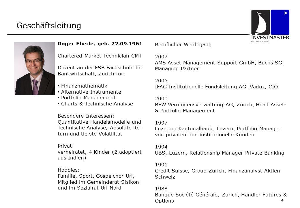 5 Organisation AMS Asset Management Support GmbH Buchs SG Jürg BosshartRoger EberleThomas Werner Geschäftsführender Partner Geschäftsführender Partner Stiller Teilhaber Kundenpflege / Administration Asset- & Portfolio-Management Devisen- und Risiko-Management Mitglied (SRO)