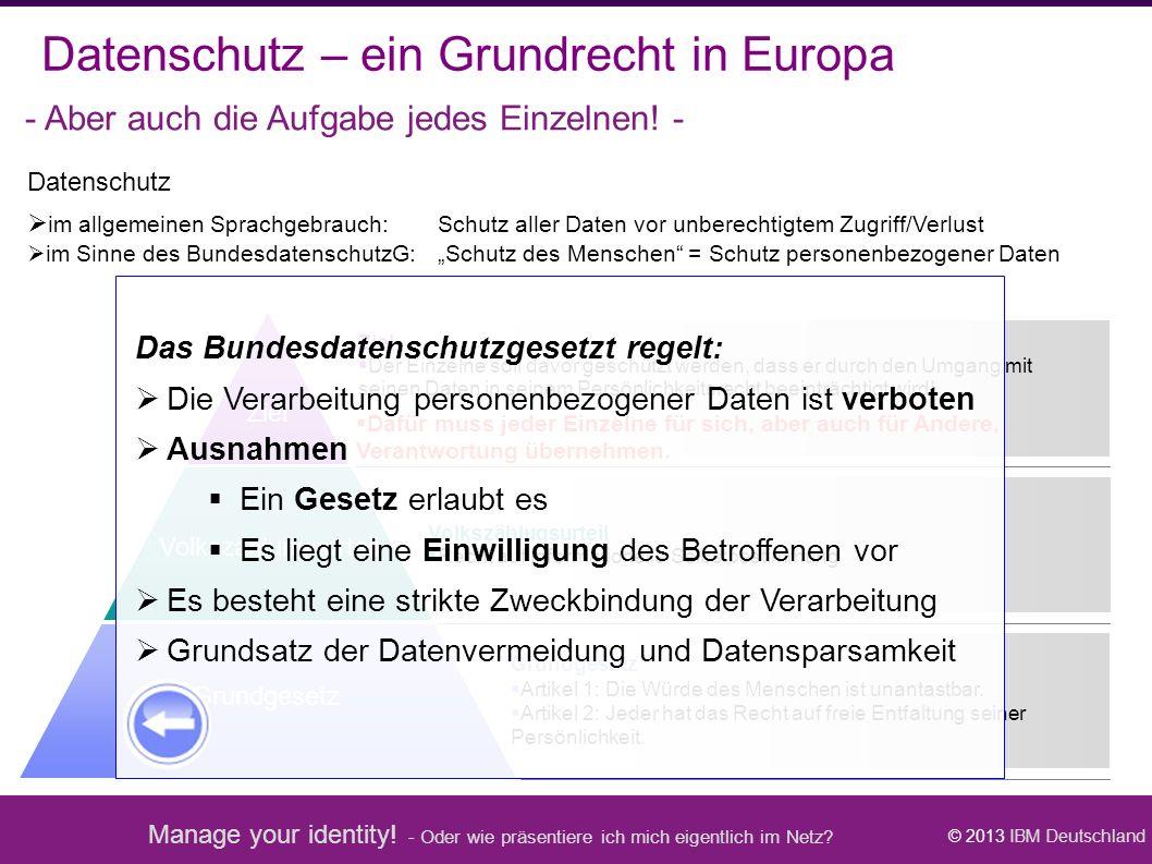Manage your identity! - Oder wie präsentiere ich mich eigentlich im Netz? © 2013 IBM Deutschland Volkszählugsurteil  Recht auf informationelle Selbst