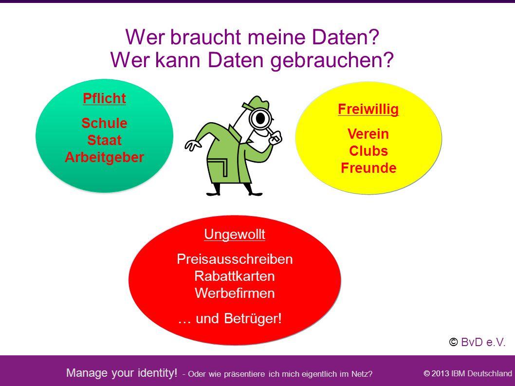 Manage your identity! - Oder wie präsentiere ich mich eigentlich im Netz? © 2013 IBM Deutschland Wer braucht meine Daten? Wer kann Daten gebrauchen? P