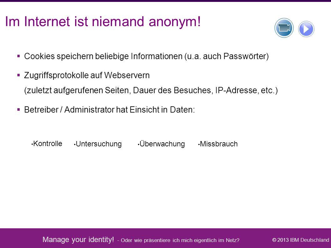 Manage your identity! - Oder wie präsentiere ich mich eigentlich im Netz? © 2013 IBM Deutschland Kontrolle Missbrauch Überwachung Untersuchung Im Inte