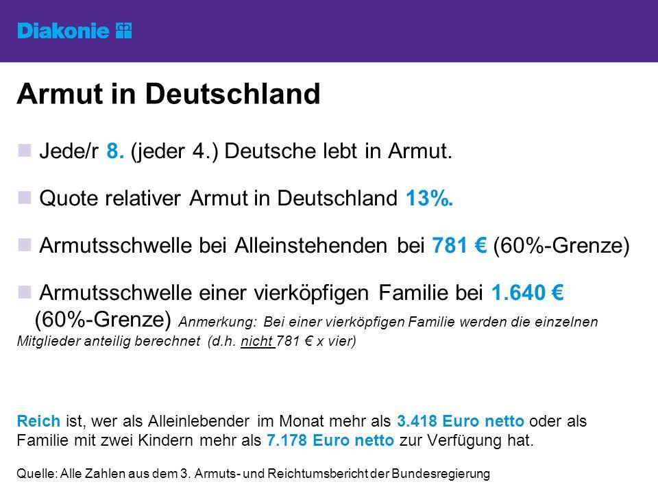 Armut in Deutschland Jede/r 8. (jeder 4.) Deutsche lebt in Armut.