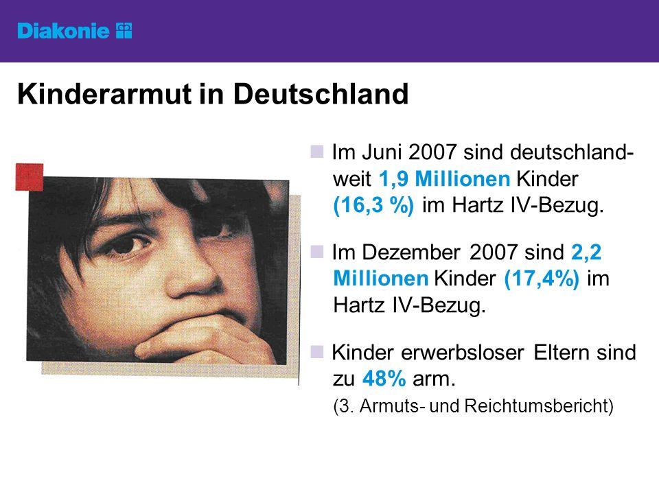 Kinderarmut in Deutschland Im Juni 2007 sind deutschland- weit 1,9 Millionen Kinder (16,3 %) im Hartz IV-Bezug.