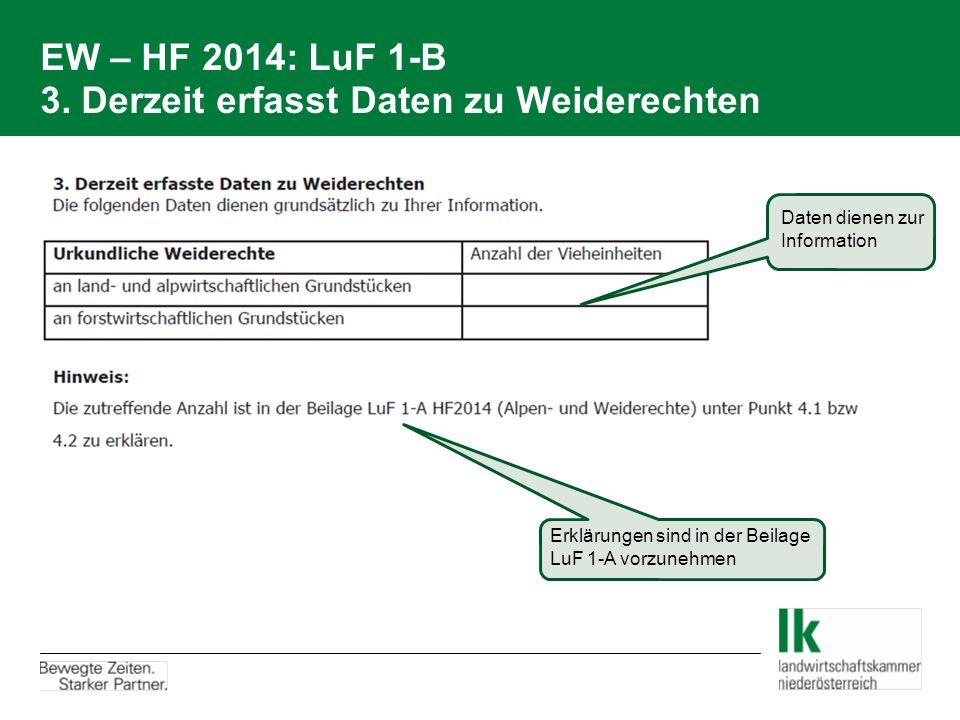 EW – HF 2014: LuF 1-B 3. Derzeit erfasst Daten zu Weiderechten Daten dienen zur Information Erklärungen sind in der Beilage LuF 1-A vorzunehmen