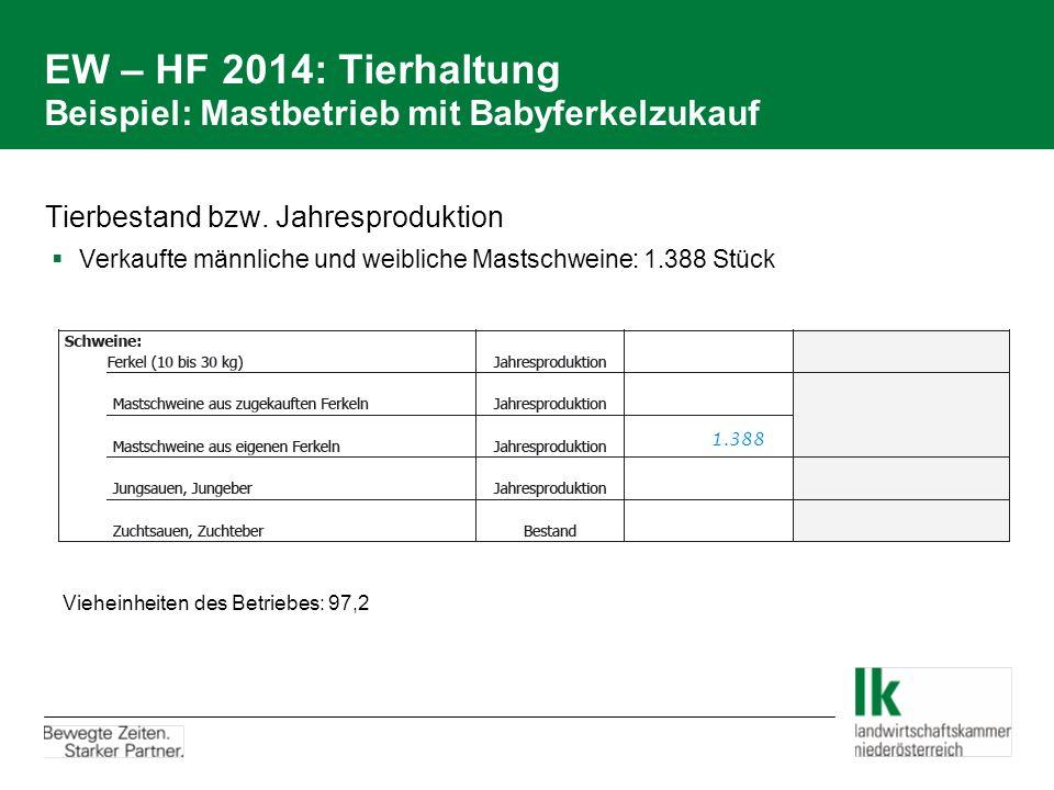 EW – HF 2014: Tierhaltung Beispiel: Mastbetrieb mit Babyferkelzukauf Tierbestand bzw. Jahresproduktion  Verkaufte männliche und weibliche Mastschwein