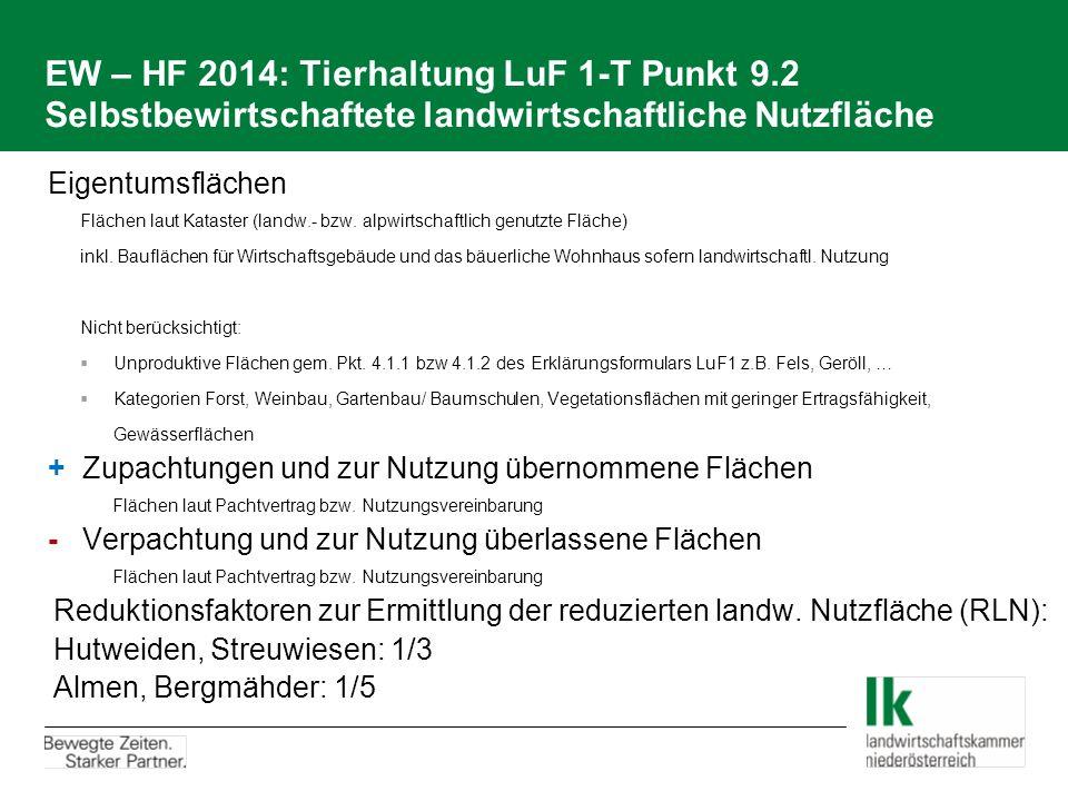 EW – HF 2014: Tierhaltung LuF 1-T Punkt 9.2 Selbstbewirtschaftete landwirtschaftliche Nutzfläche Eigentumsflächen Flächen laut Kataster (landw.- bzw.