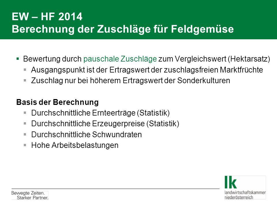 EW – HF 2014 Berechnung der Zuschläge für Feldgemüse  Bewertung durch pauschale Zuschläge zum Vergleichswert (Hektarsatz)  Ausgangspunkt ist der Ert