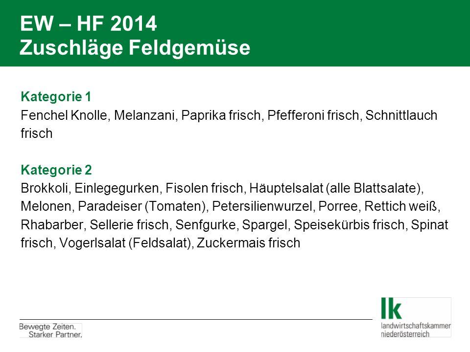 EW – HF 2014 Zuschläge Feldgemüse Kategorie 1 Fenchel Knolle, Melanzani, Paprika frisch, Pfefferoni frisch, Schnittlauch frisch Kategorie 2 Brokkoli,