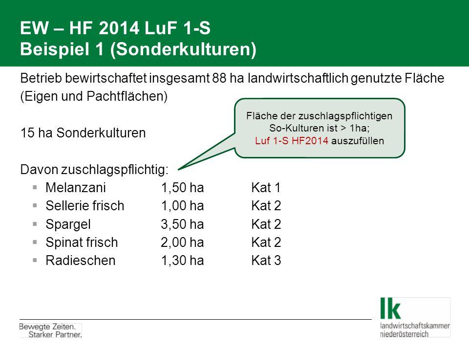 EW – HF 2014 LuF 1-S Beispiel 1 (Sonderkulturen)  Betrieb bewirtschaftet insgesamt 88 ha landwirtschaftlich genutzte Fläche  (Eigen und Pachtflächen