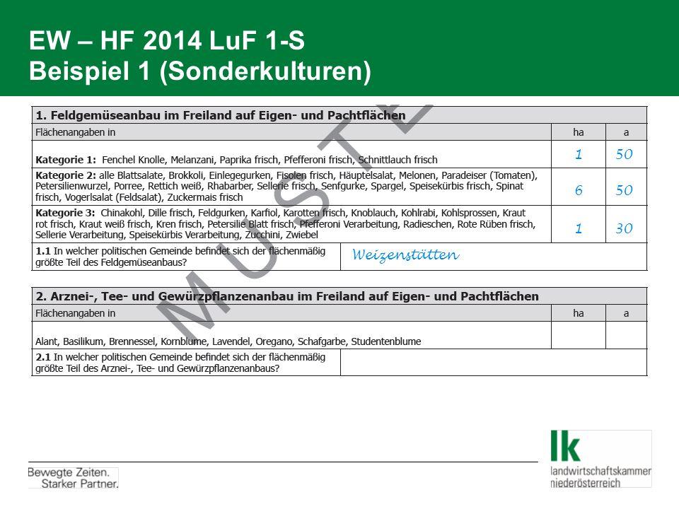 EW – HF 2014 LuF 1-S Beispiel 1 (Sonderkulturen) 1 50 6 50 Weizenstätten 1 30
