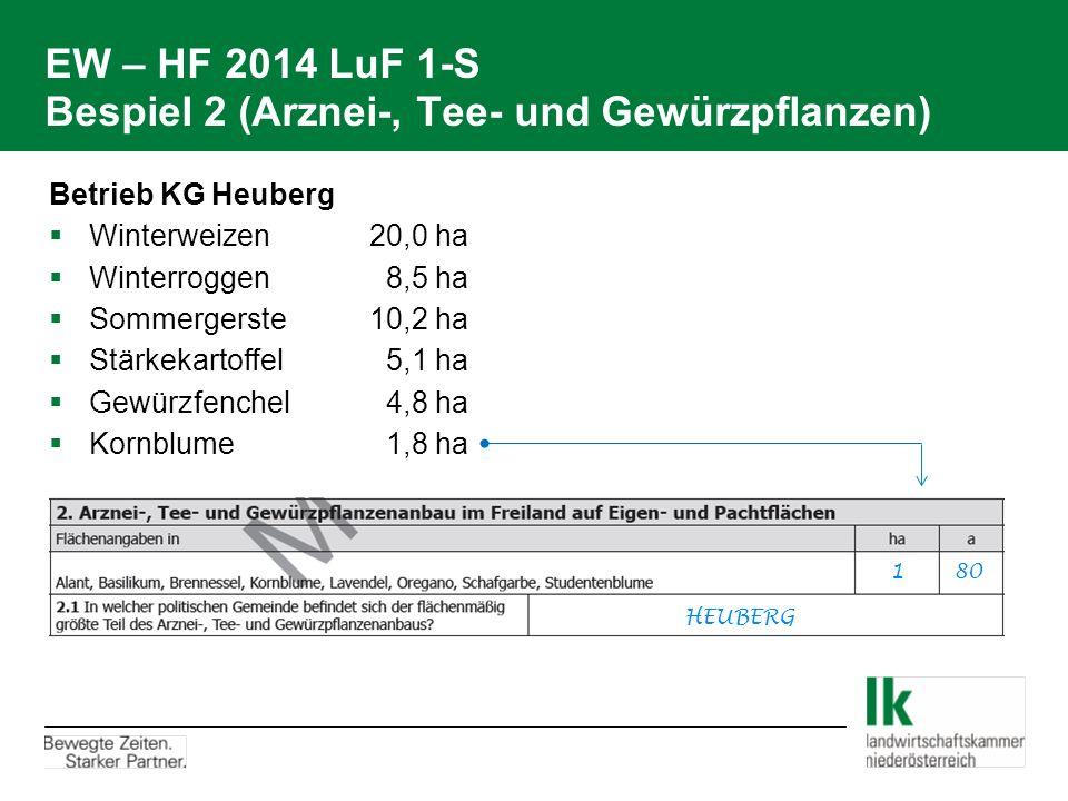 EW – HF 2014 LuF 1-S Bespiel 2 (Arznei-, Tee- und Gewürzpflanzen) Betrieb KG Heuberg  Winterweizen20,0 ha  Winterroggen 8,5 ha  Sommergerste10,2 ha
