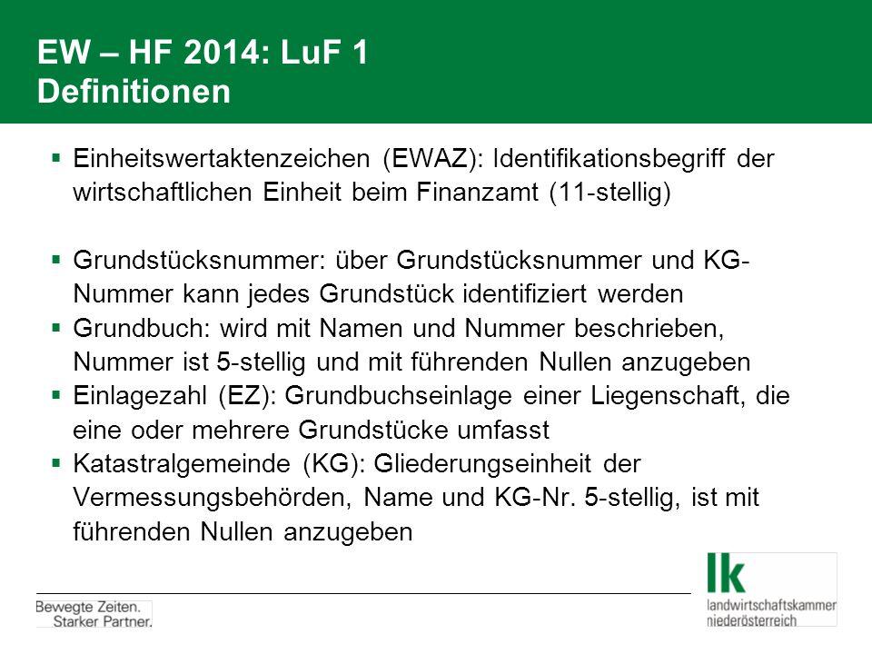 EW – HF 2014: LuF 1 Definitionen  Einheitswertaktenzeichen (EWAZ): Identifikationsbegriff der wirtschaftlichen Einheit beim Finanzamt (11-stellig) 