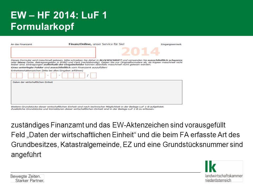 """EW – HF 2014: LuF 1 Formularkopf zuständiges Finanzamt und das EW-Aktenzeichen sind vorausgefüllt Feld """"Daten der wirtschaftlichen Einheit"""" und die be"""