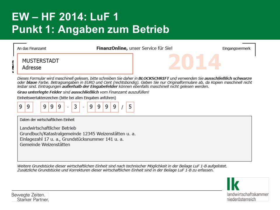 EW – HF 2014: LuF 1 Punkt 1: Angaben zum Betrieb