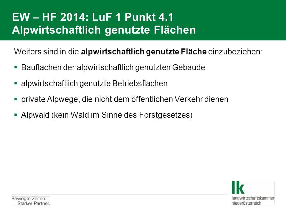 EW – HF 2014: LuF 1 Punkt 4.1 Alpwirtschaftlich genutzte Flächen  Weiters sind in die alpwirtschaftlich genutzte Fläche einzubeziehen:  Bauflächen d