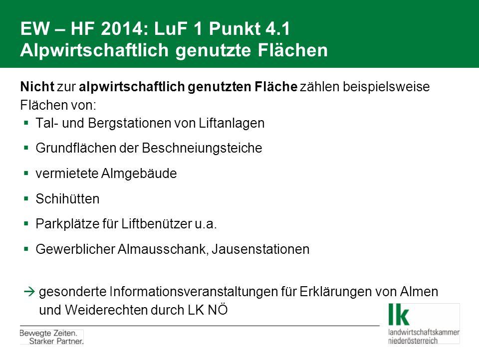 EW – HF 2014: LuF 1 Punkt 4.1 Alpwirtschaftlich genutzte Flächen Nicht zur alpwirtschaftlich genutzten Fläche zählen beispielsweise Flächen von:  Tal