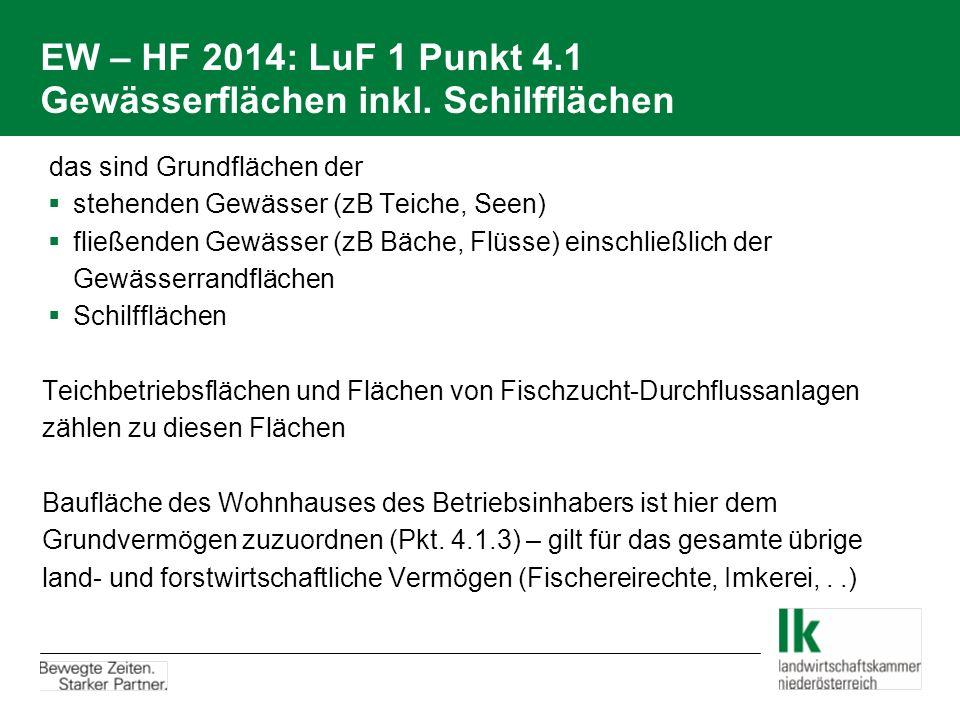 EW – HF 2014: LuF 1 Punkt 4.1 Gewässerflächen inkl. Schilfflächen  das sind Grundflächen der  stehenden Gewässer (zB Teiche, Seen)  fließenden Gewä