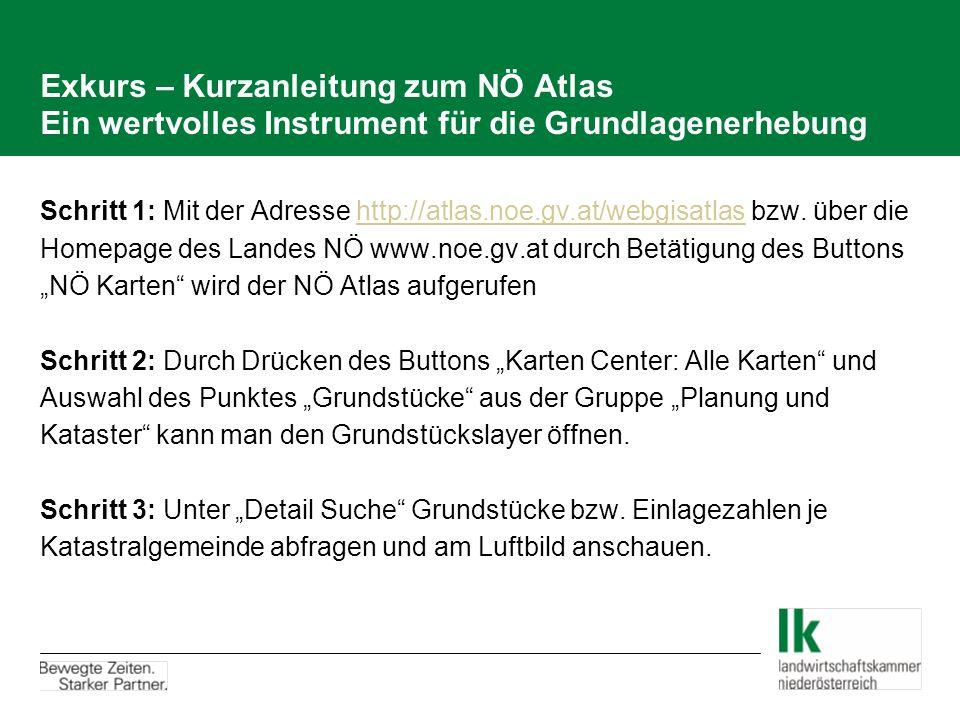 Exkurs – Kurzanleitung zum NÖ Atlas Ein wertvolles Instrument für die Grundlagenerhebung Schritt 1: Mit der Adresse http://atlas.noe.gv.at/webgisatlas