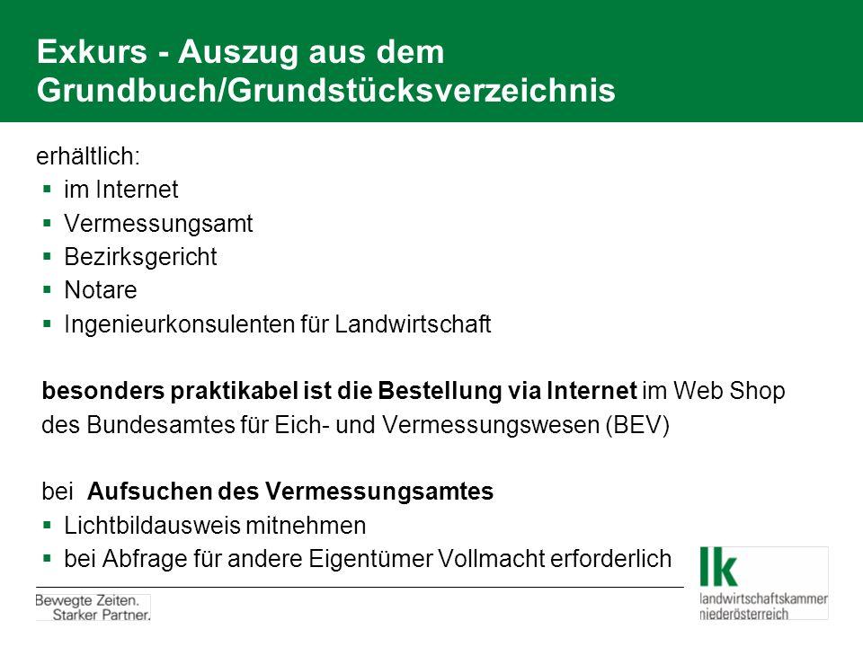 Exkurs - Auszug aus dem Grundbuch/Grundstücksverzeichnis erhältlich:  im Internet  Vermessungsamt  Bezirksgericht  Notare  Ingenieurkonsulenten f