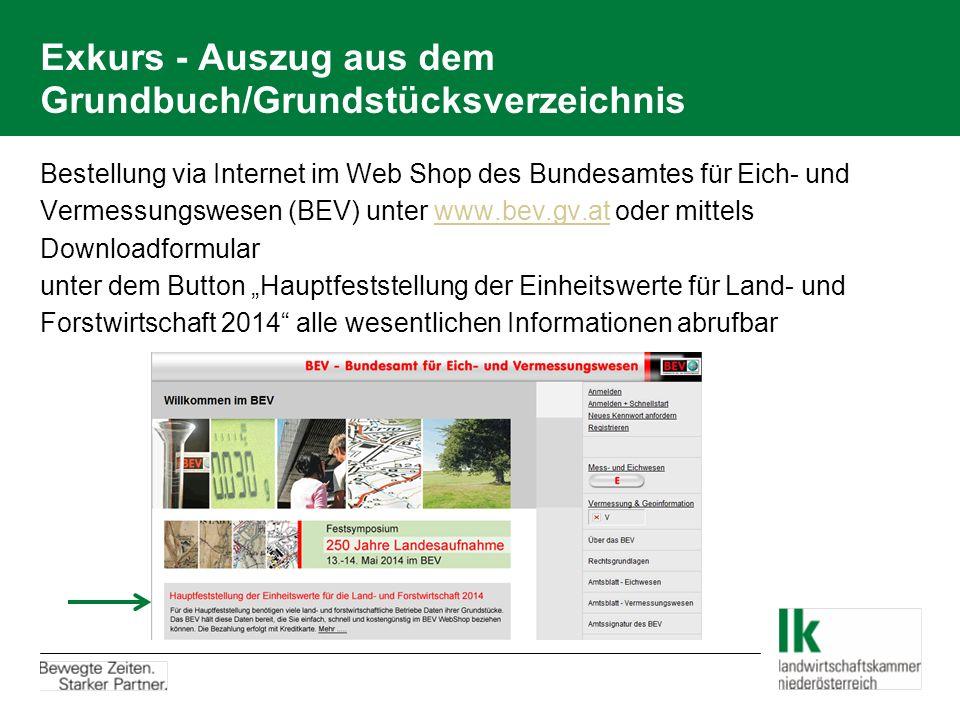 Exkurs - Auszug aus dem Grundbuch/Grundstücksverzeichnis Bestellung via Internet im Web Shop des Bundesamtes für Eich- und Vermessungswesen (BEV) unte