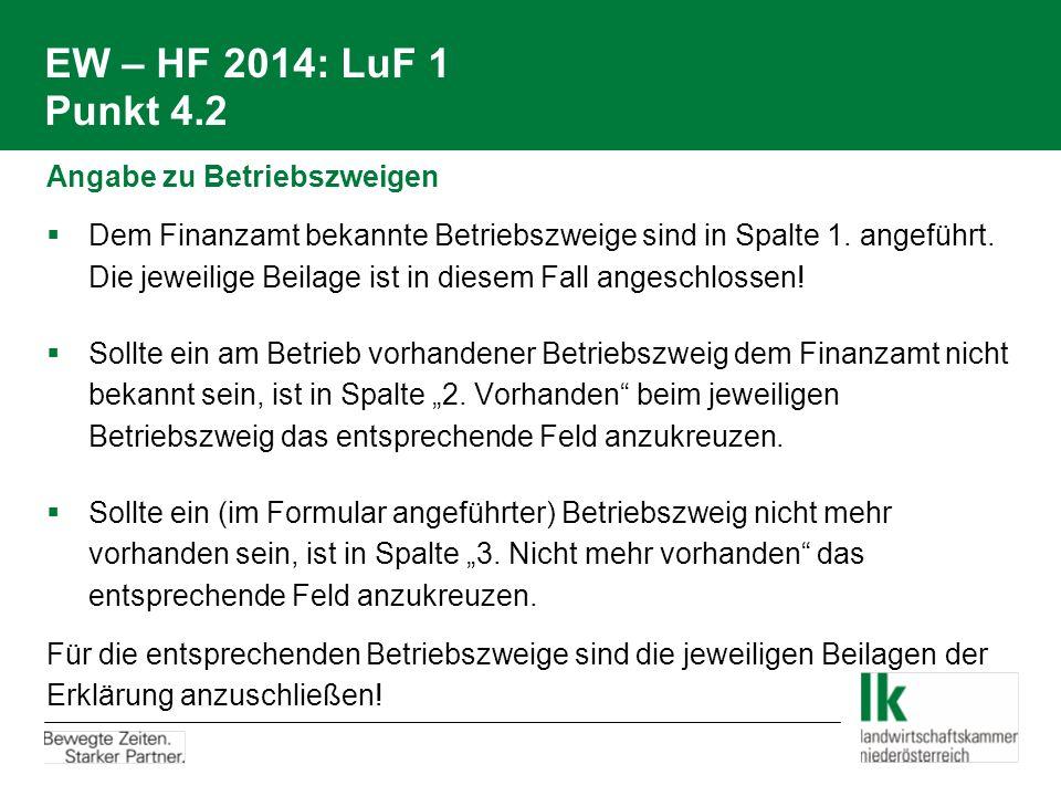 EW – HF 2014: LuF 1 Punkt 4.2 Angabe zu Betriebszweigen  Dem Finanzamt bekannte Betriebszweige sind in Spalte 1. angeführt. Die jeweilige Beilage ist
