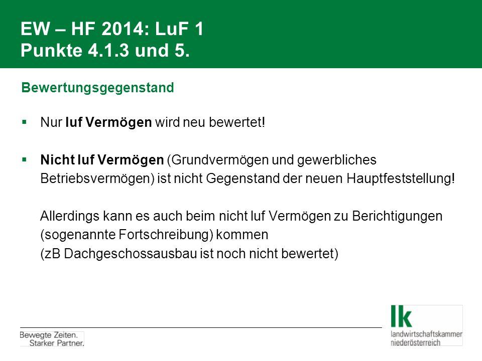 EW – HF 2014: LuF 1 Punkte 4.1.3 und 5. Bewertungsgegenstand  Nur luf Vermögen wird neu bewertet!  Nicht luf Vermögen (Grundvermögen und gewerbliche