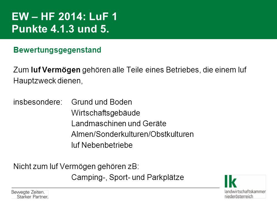 EW – HF 2014: LuF 1 Punkte 4.1.3 und 5. Bewertungsgegenstand Zum luf Vermögen gehören alle Teile eines Betriebes, die einem luf Hauptzweck dienen, ins
