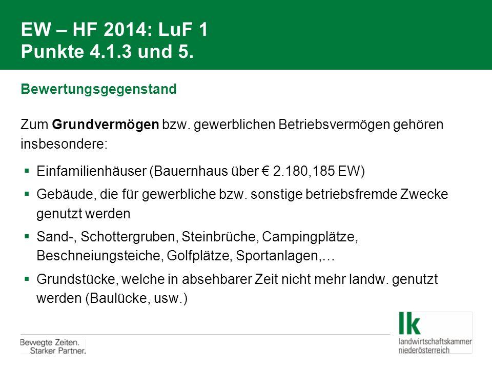 EW – HF 2014: LuF 1 Punkte 4.1.3 und 5. Bewertungsgegenstand Zum Grundvermögen bzw. gewerblichen Betriebsvermögen gehören insbesondere:  Einfamilienh