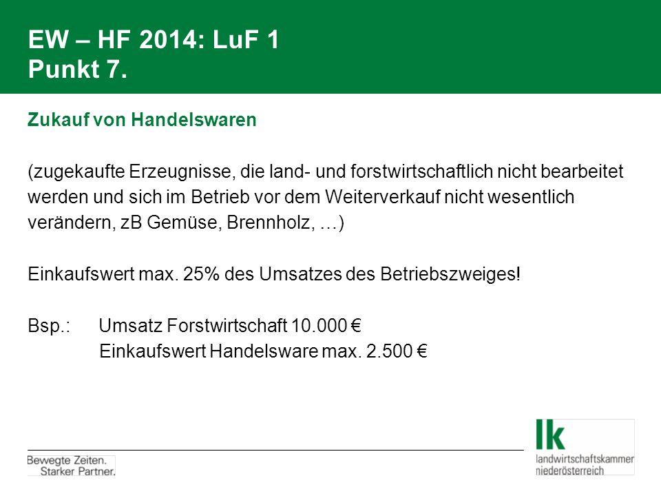 EW – HF 2014: LuF 1 Punkt 7. Zukauf von Handelswaren (zugekaufte Erzeugnisse, die land- und forstwirtschaftlich nicht bearbeitet werden und sich im Be
