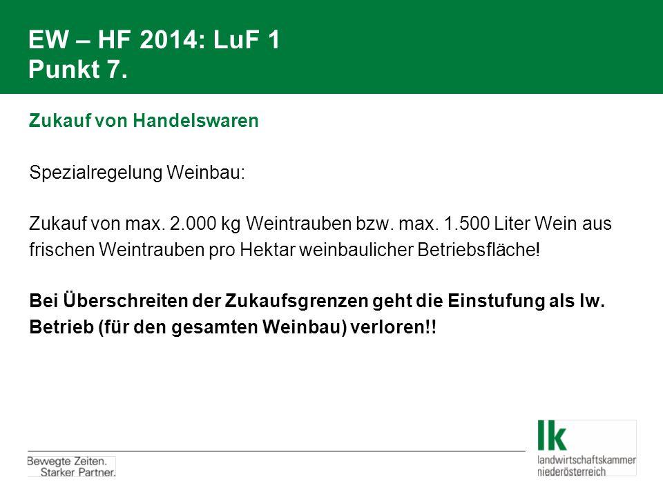 EW – HF 2014: LuF 1 Punkt 7. Zukauf von Handelswaren Spezialregelung Weinbau: Zukauf von max. 2.000 kg Weintrauben bzw. max. 1.500 Liter Wein aus fris