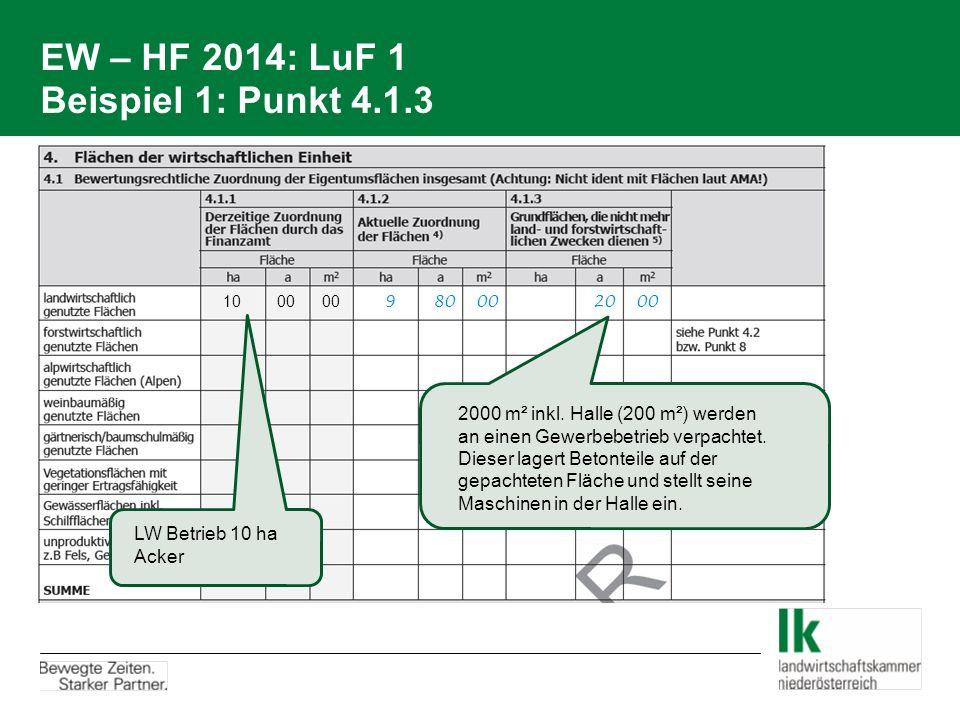 EW – HF 2014: LuF 1 Beispiel 1: Punkt 4.1.3 10 00 00 9 80 00 20 00 LW Betrieb 10 ha Acker 2000 m² inkl. Halle (200 m²) werden an einen Gewerbebetrieb
