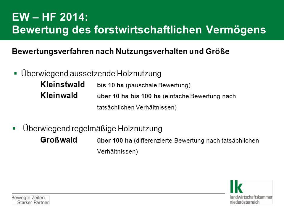 EW – HF 2014: Bewertung des forstwirtschaftlichen Vermögens Bewertungsverfahren nach Nutzungsverhalten und Größe  Überwiegend aussetzende Holznutzung
