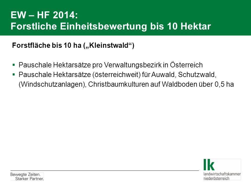 """EW – HF 2014: Forstliche Einheitsbewertung bis 10 Hektar Forstfläche bis 10 ha (""""Kleinstwald"""")  Pauschale Hektarsätze pro Verwaltungsbezirk in Österr"""