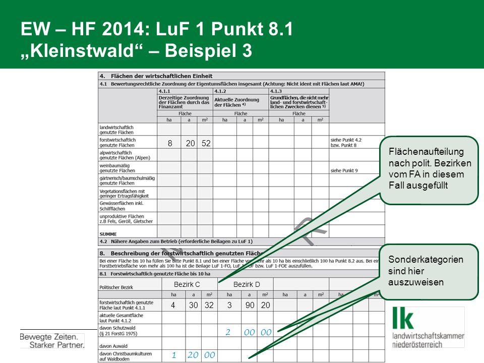 """EW – HF 2014: LuF 1 Punkt 8.1 """"Kleinstwald"""" – Beispiel 3 8 20 52 4 30 32 3 90 20 Bezirk C Bezirk D 2 00 00 1 20 00 Sonderkategorien sind hier auszuwei"""